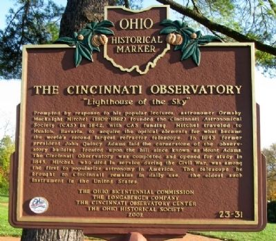 The Cincinnati Observatory Marker (Side A) image. Click for full size.