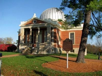 The Cincinnati Observatory (Herget Building) and Marker image. Click for full size.
