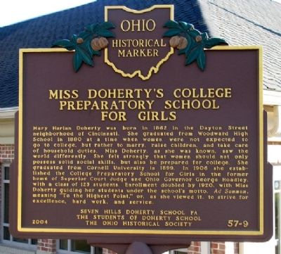 Miss Doherty's College Preparatory School for Girls Marker image. Click for full size.
