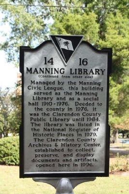 Manning Library Marker image. Click for full size.