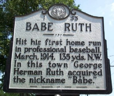 Babe Ruth Marker image. Click for full size.