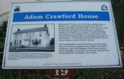 Adam Crawford House Marker image. Click for full size.