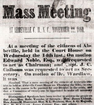 Secession Hill Mass Meeting Notice image. Click for full size.