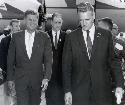 Olin D. Johnston (Center) and Governor Fritz Hollings<br>Greet President Kennedy in Columbia, SC Photo, Click for full size