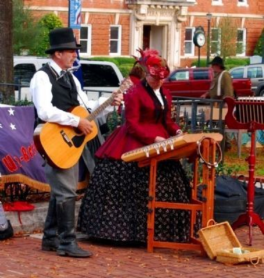19th Century Musician-Reenactors <br>Performing at Monument&#39;s Base Photo, Click for full size