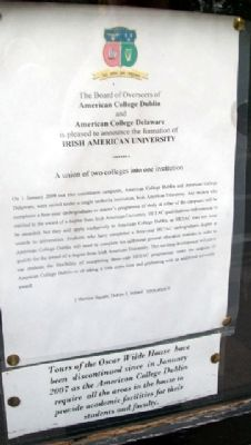 Irish American University Sign at Oscar Wilde House image. Click for full size.