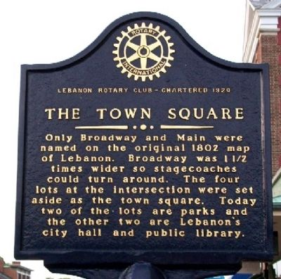 The Town Square Marker (Side A) image. Click for full size.