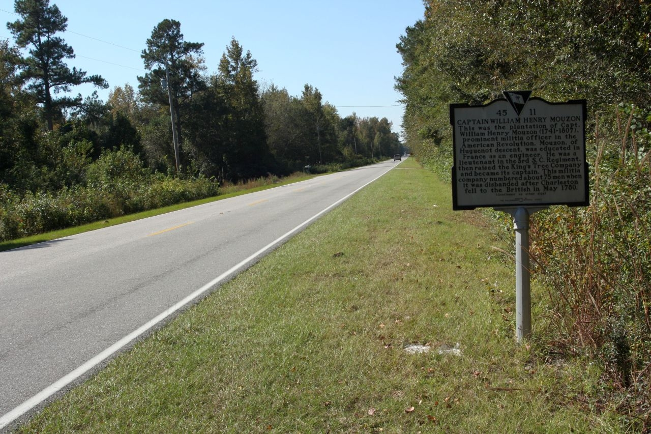 Captain William Henry Mouzon Marker, looking west along Sumter Highway (State Road 527)