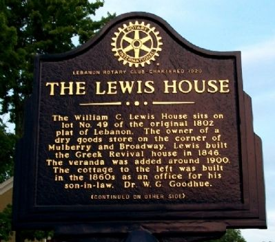 The Lewis House Marker (Side A) image. Click for full size.