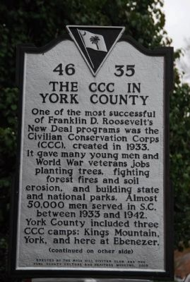 The CCC in York County Face of Marker image. Click for full size.