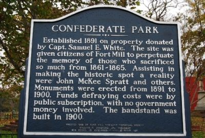 Confederate Park Marker Photo, Click for full size