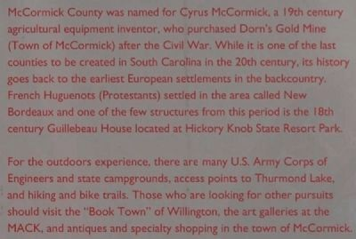 McCormick County Marker image. Click for full size.