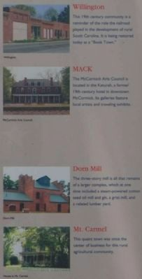 McCormick County Marker - <br>Willington, MACK, Dorn Mill, Mt. Carmel image. Click for full size.