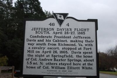 Jefferson Davis's Flight South, April 26-27, 1865 / Last Confederate Cabinet Meeting, April 27, 1865 Marker image. Click for full size.