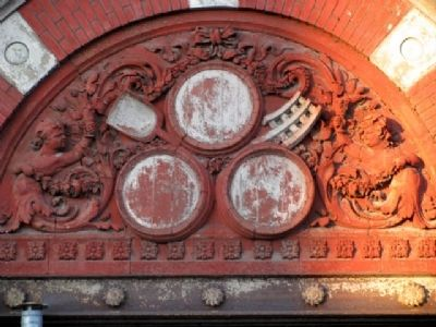 Whimsical Detail Including Beer Barrels on Former Clyffside Brewery Photo, Click for full size