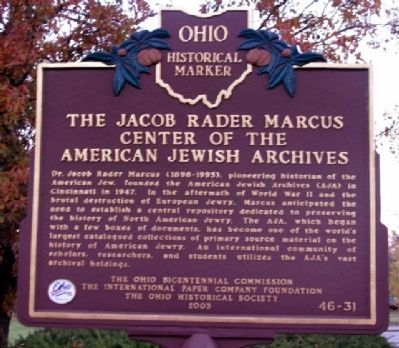 The Jacob Rader Marcus Center of the American Jewish Archives Marker image. Click for full size.