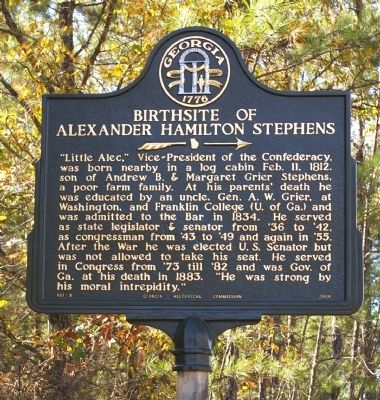 Birthplace of Alexander Hamilton Stephens Marker image. Click for full size.