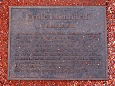 Ernie Lombardi Marker Photo, Click for full size