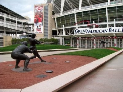 Lombardi, Robinson, and Nuxhall Statues image. Click for full size.