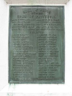 Patterson Veterans Monument World War I Tablet image. Click for full size.