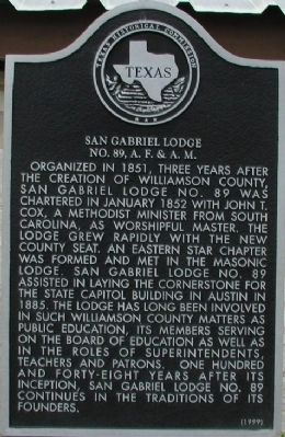 San Gabriel Lodge No. 89, A.F. & A.M. Marker image. Click for full size.