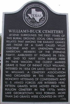 Williams-Buck Cemetery Marker image. Click for full size.