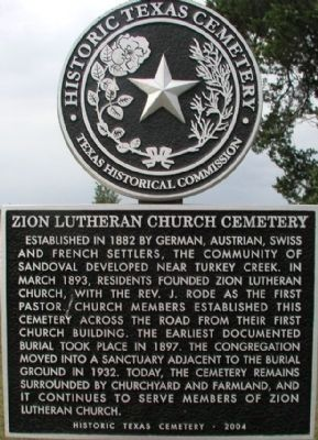 Zion Lutheran Church Cemetery Marker image. Click for full size.