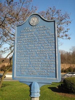 Old Paramus Reformed Church Marker image. Click for full size.