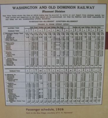 Passenger Schedule 1926 Photo, Click for full size