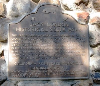 Jack London Historical State Park Marker image. Click for full size.