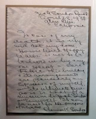 Note of April 28, 1938 by Charmian K. London , on Display in the Museum image. Click for full size.