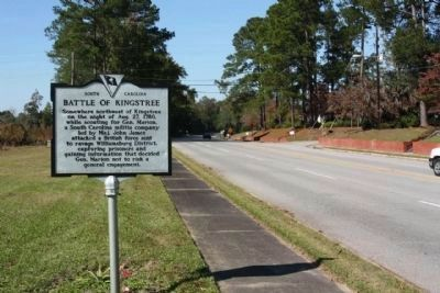 Battle of Kingstree Marker, looking north along West Academy Street (State Road 527) image. Click for full size.