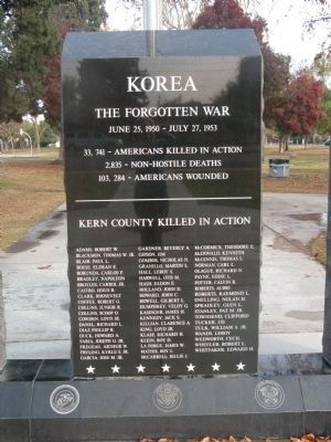 Kern County Korean War Memorial Marker Photo, Click for full size