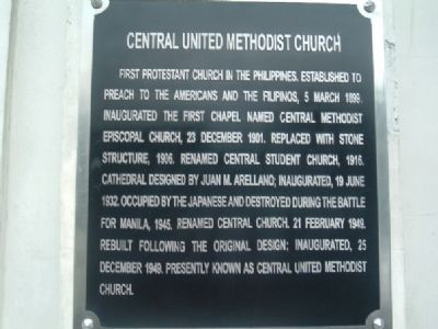 Central United Methodist Church Marker (English) image. Click for full size.