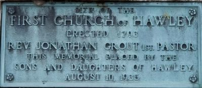 First Church of Hawley Marker image. Click for full size.