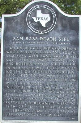 Sam Bass' Death Site Marker image. Click for full size.