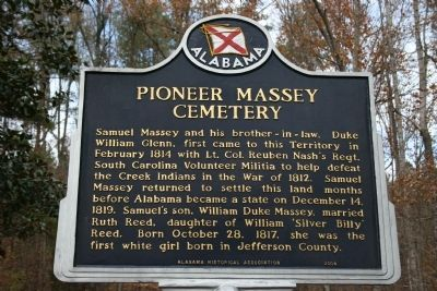 Pioneer Massey Cemetery Marker image. Click for full size.