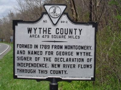 Wythe County Marker image. Click for more information.