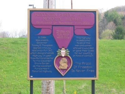 Wisconsin Purple Heart Memorial Highway Marker image. Click for full size.