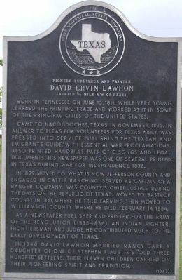 Pioneer Publisher and Printer David Ervin Lawhon Marker image. Click for full size.