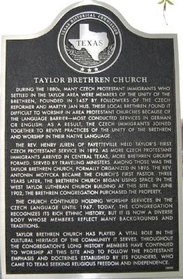 Taylor Brethren Church Marker image. Click for full size.