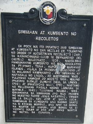 Simbahan at Kumbento ng Recoletos Marker image. Click for full size.