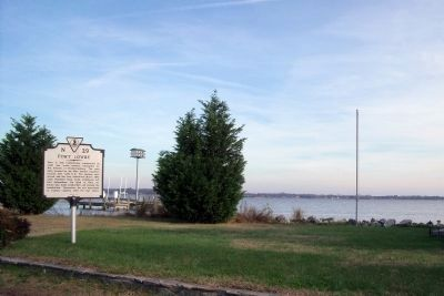 Fort Lowry marker on Rappahannock River image. Click for full size.