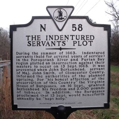 The Indentured Servants' Plot Marker image. Click for full size.
