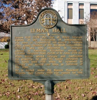 Lyman Hall Marker Photo, Click for full size