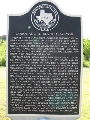 Coronado in Blanco Canyon Marker Photo, Click for full size