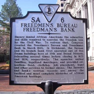 Freedmen's Bureau Freedman's Bank Marker image. Click for full size.
