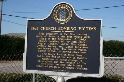 1963 Church Bombing Victims Marker image. Click for full size.