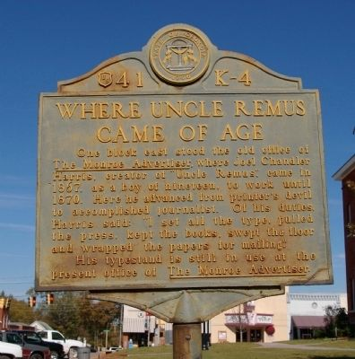 Where Uncle Remus Came of Age Marker Photo, Click for full size