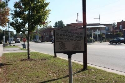 Snider House Marker, looking east along Main Street image. Click for full size.